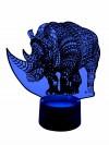 originelle 3D LED-Lampe Kinderzimmerlampe Tischlampe Nachtlicht Wohnlicht Mehrfarbenlicht Motivlampe Nashorn
